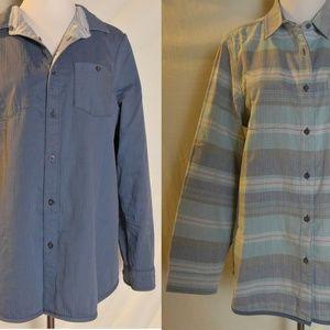Pendleton Reversible Serape Shirt Stripe Solid L